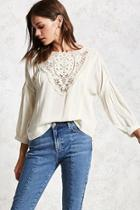 Forever21 Pintucked Crochet Top