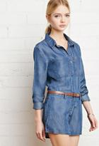 Forever21 Belted Chambray Romper