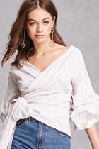 Forever21 Striped Wrap Blouse