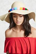 Forever21 Pom Pom Floppy Straw Hat