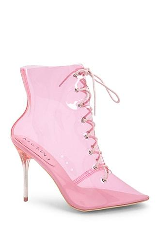 Forever21 Transparent Lace-up Stiletto Booties