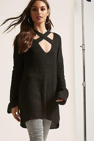 Forever21 Marled Open-knit Crisscross Top