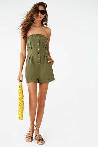 Forever21 Button-front Tube Romper