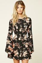 Love21 Women's  Black & Coral Contemporary Floral Dress