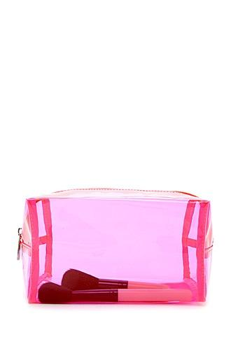 Forever21 Transparent Neon Makeup Bag