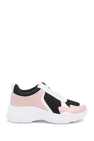 Forever21 Faux Leather Colorblock Low-top Tennis Shoes