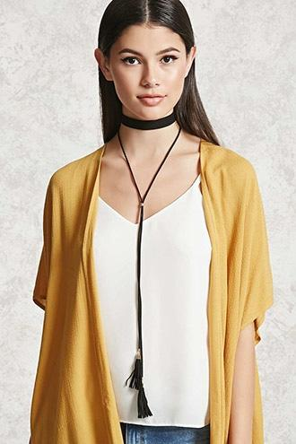 Forever21 Faux Suede Layered Choker Set