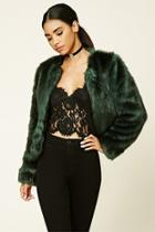 Forever21 Women's  Collarless Faux Fur Jacket
