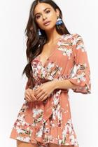 Forever21 Crinkled Floral Surplice Ruffle-trim Romper
