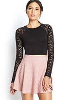 Forever21 Lace Sleeve Crop Top