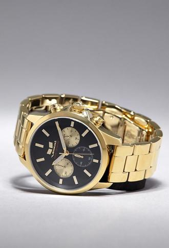 21 Men Gold & Black Vestal Heirloom Chrono Watch