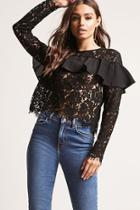 Forever21 Sheer Lace Ruffle Top