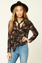 Forever21 Floral Tie-neck Top