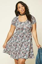Forever21 Plus Women's  Plus Size Floral Print Skater Dress