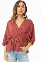 Forever21 Plunging Batwing-sleeve Top