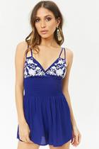 Forever21 Floral Embroidered Cami Romper