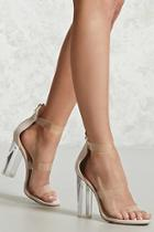 Forever21 Faux Suede Lucite Ankle Heels