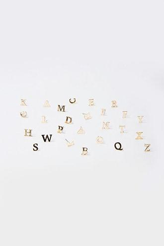 Forever21 Alphabet Stud Earring Set