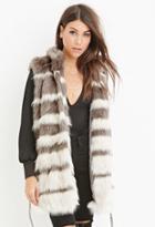 Love21 Women's  Striped Faux Fur Vest (grey/cream)