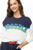 Forever21 Trouble Graphic Colorblock Top