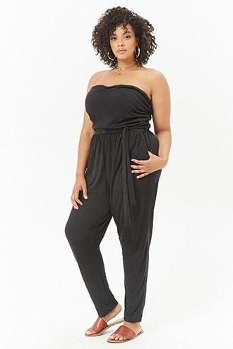 Forever21 Plus Size Ruched Tube Jumpsuit