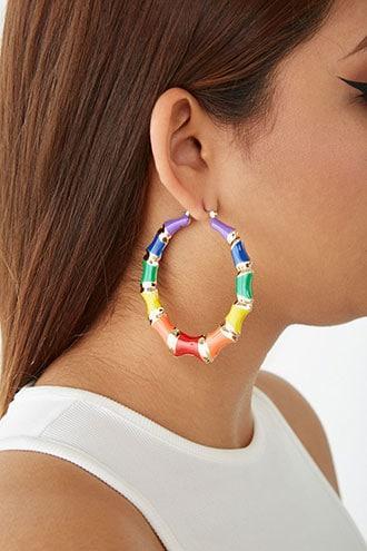 Forever21 Rainbow Bamboo Hoop Earrings