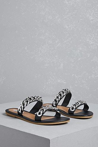 Forever21 Dual-strap Faux Leather Sandals