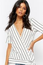 Forever21 Pinstriped Surplice Top