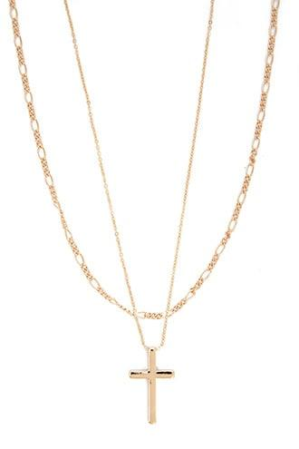 Forever21 Cross Pendant Chain Necklace Set