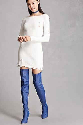 Forever21 Denim Thigh-high Boots