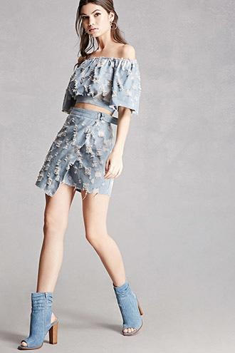 Forever21 Denim Cutout Ankle Boots