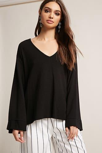 Forever21 Ribbed Knit Kimono-sleeve Top