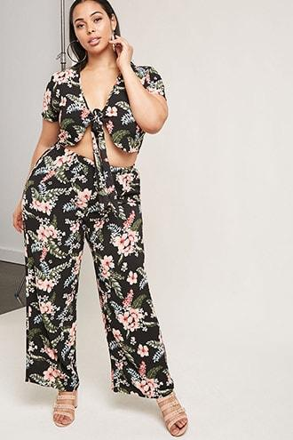 Forever21 Plus Size Crop Top & Pants Set