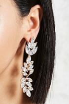 Forever21 Rhinestone Leaf Drop Earrings
