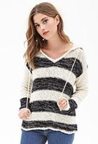 Forever21 Striped Sweater-knit Hoodie