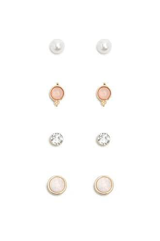 Forever21 Faux Gemstone & Pearl Earring Set