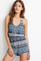 Forever21 Buttoned Paisley Print Romper