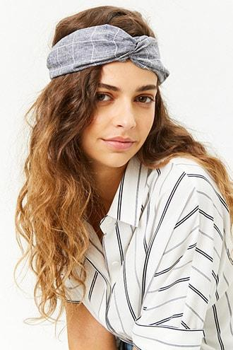Forever21 Marled Grid Twist-front Headwrap