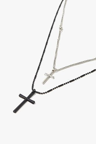 Forever21 Men Layered Cross Pendant Necklace