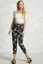 Forever21 Floral Print Cropped Pants