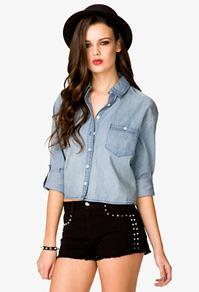 Forever21 Cropped Chambray Shirt