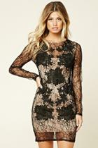 Love21 Women's  Black & Nude Contemporary Floral Dress