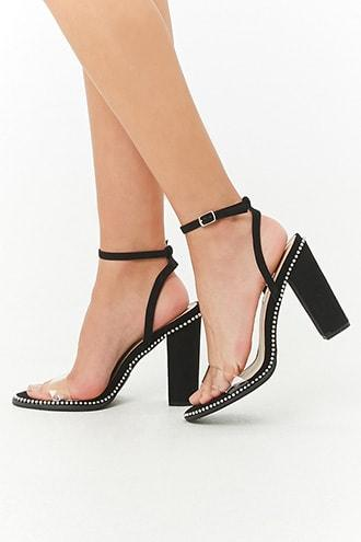 Forever21 Faux Suede Stud-embellished Ankle Wrap Heels