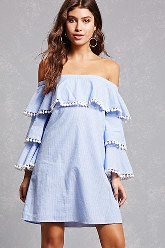Forever21 Striped Tiered Ruffle Dress