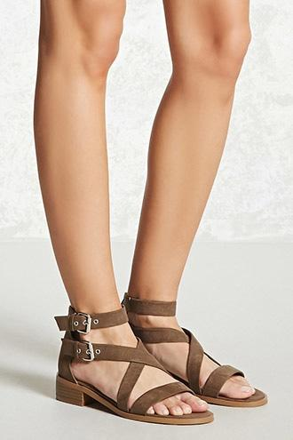 Forever21 Faux Suede Buckle-strap Sandals