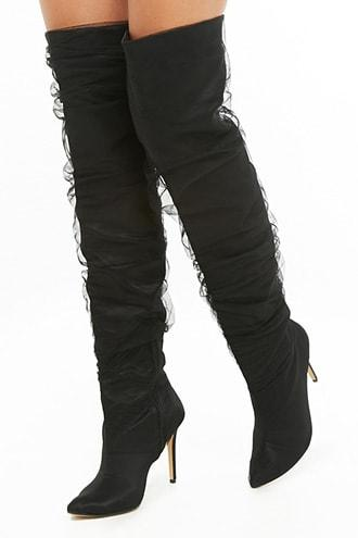 Forever21 Mesh Stiletto Thigh-high Boots
