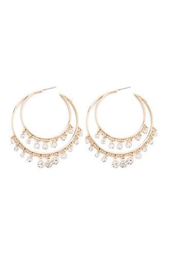 Forever21 Rhinestone Double Hoop Earrings