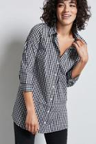 Forever21 Gingham Longline Shirt
