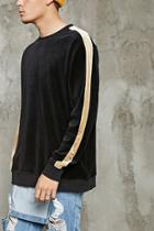 21 Men Men's  Velour Stripe-sleeve Sweatshirt