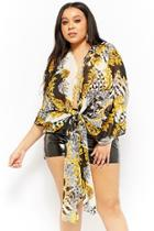 Forever21 Plus Size Sheer Baroque-inspired Cardigan